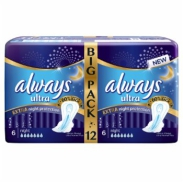 Always Podpaski Ultra Extra Night Duo 12 Sztuk